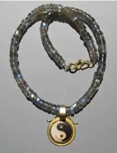 Yin Yang gold and enamel pendant