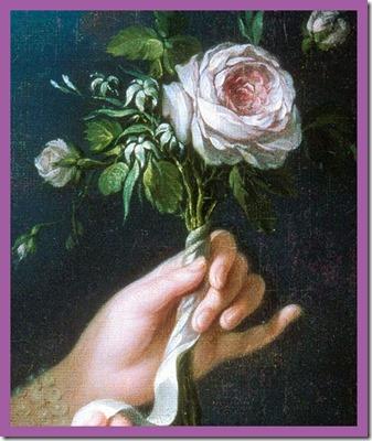 detail - Marie Antoinette a la Rose by Elizabeth Vigee LeBrun